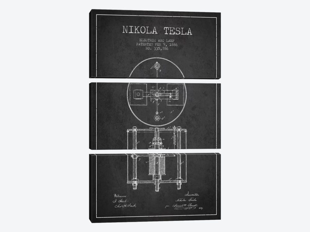 Tesla Arc Lamp Charcoal Patent Blueprint by Aged Pixel 3-piece Canvas Art