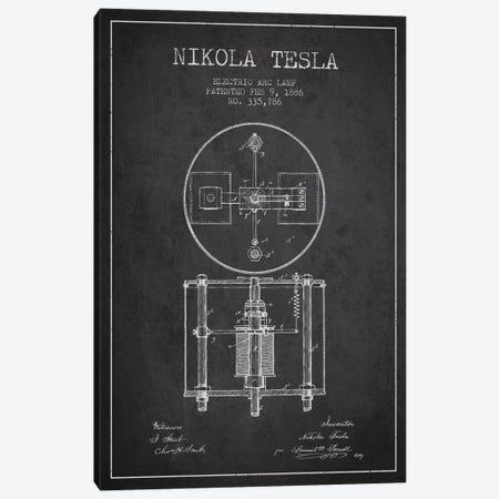 Tesla Arc Lamp Charcoal Patent Blueprint Canvas Print #ADP516} by Aged Pixel Canvas Artwork