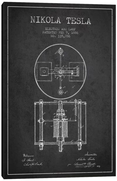 Tesla Arc Lamp Charcoal Patent Blueprint Canvas Art Print