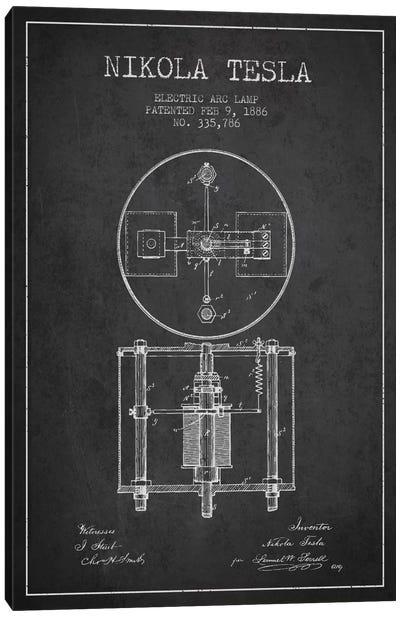 Tesla Arc Lamp Charcoal Patent Blueprint Canvas Art Print