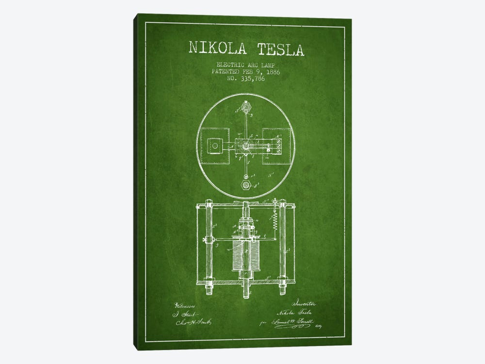 Tesla Arc Lamp Green Patent Blueprint by Aged Pixel 1-piece Art Print