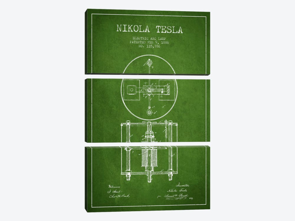 Tesla Arc Lamp Green Patent Blueprint by Aged Pixel 3-piece Art Print