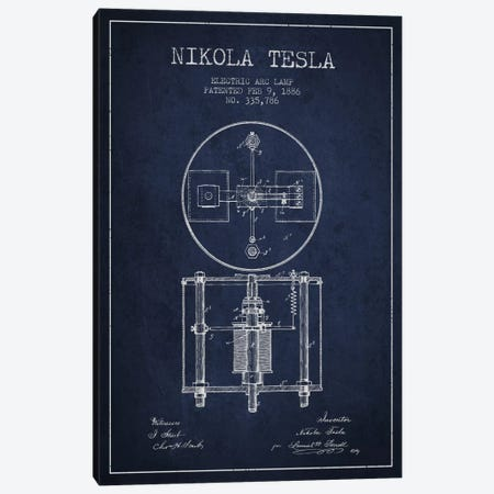 Tesla Arc Lamp Navy Blue Patent Blueprint Canvas Print #ADP518} by Aged Pixel Canvas Print