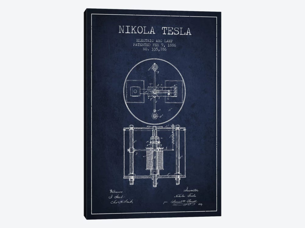 Tesla Arc Lamp Navy Blue Patent Blueprint by Aged Pixel 1-piece Canvas Artwork