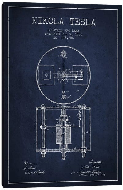 Tesla Arc Lamp Navy Blue Patent Blueprint Canvas Art Print