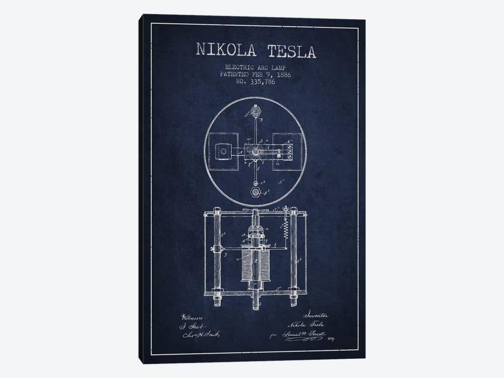 Tesla Arc Lamp Navy Blue Patent Blueprint by Aged Pixel 1-piece Canvas Artwork