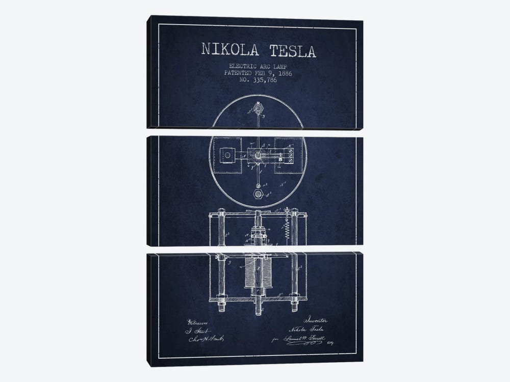 Tesla Arc Lamp Navy Blue Patent Blueprint by Aged Pixel 3-piece Canvas Art