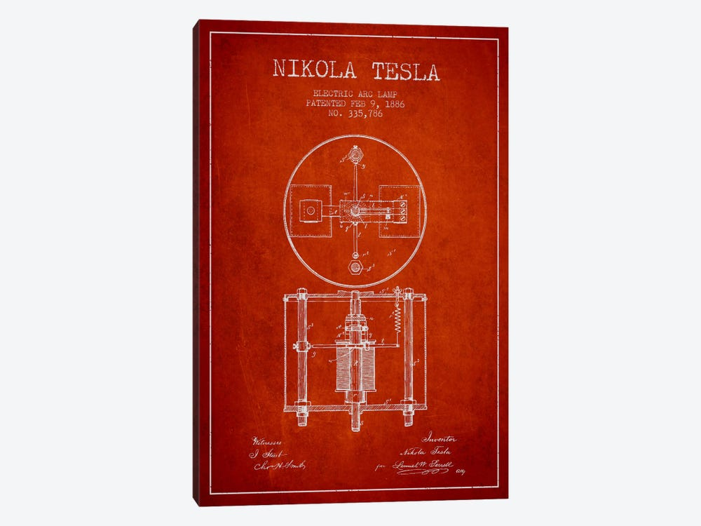 Tesla Arc Lamp Red Patent Blueprint by Aged Pixel 1-piece Canvas Print