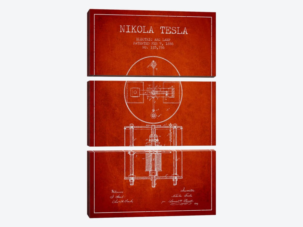 Tesla Arc Lamp Red Patent Blueprint by Aged Pixel 3-piece Art Print