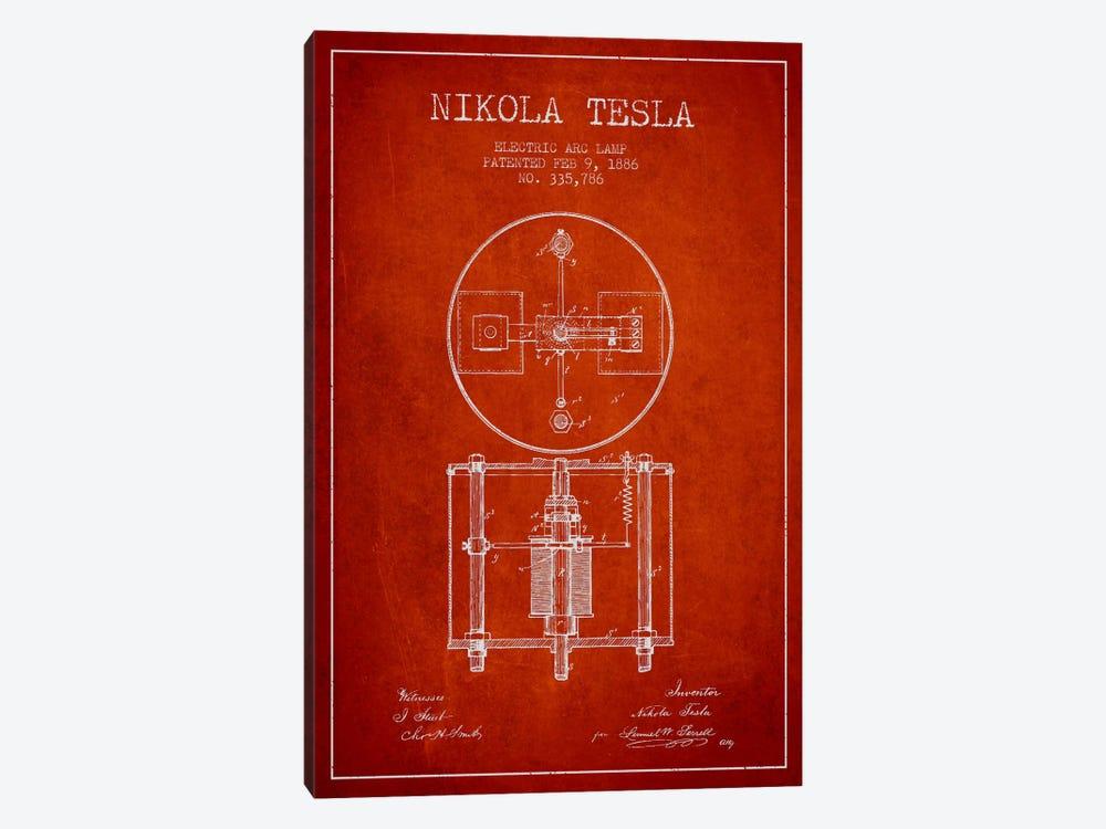 Tesla Arc Lamp Red Patent Blueprint by Aged Pixel 1-piece Canvas Print