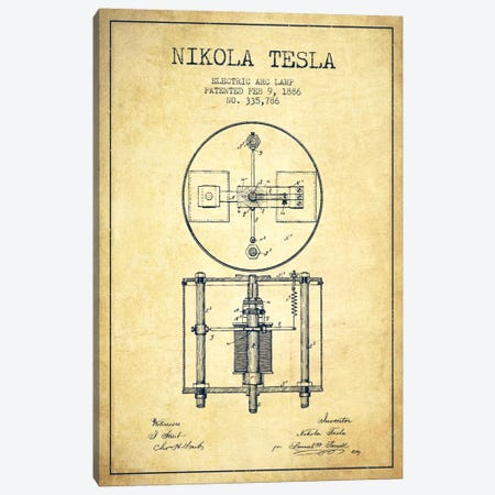 Tesla Arc Lamp Vintage Patent Blueprint Canvas Print #ADP520} by Aged Pixel Canvas Art