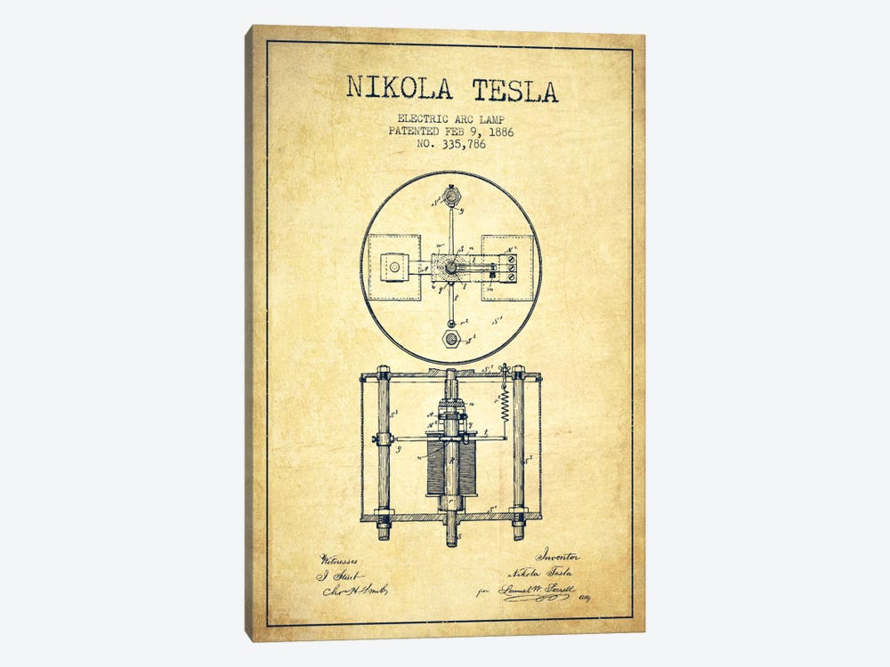 Tesla Arc Lamp Vintage Patent Blueprint by Aged Pixel 1-piece Canvas Print