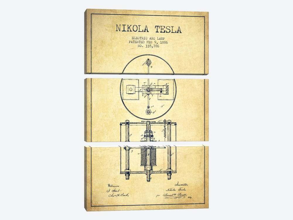 Tesla Arc Lamp Vintage Patent Blueprint by Aged Pixel 3-piece Canvas Print