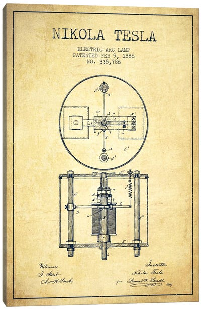 Tesla Arc Lamp Vintage Patent Blueprint Canvas Art Print