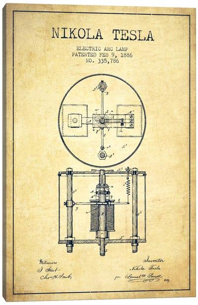 Tesla Arc Lamp Vintage Patent Blueprint Canvas Art Print