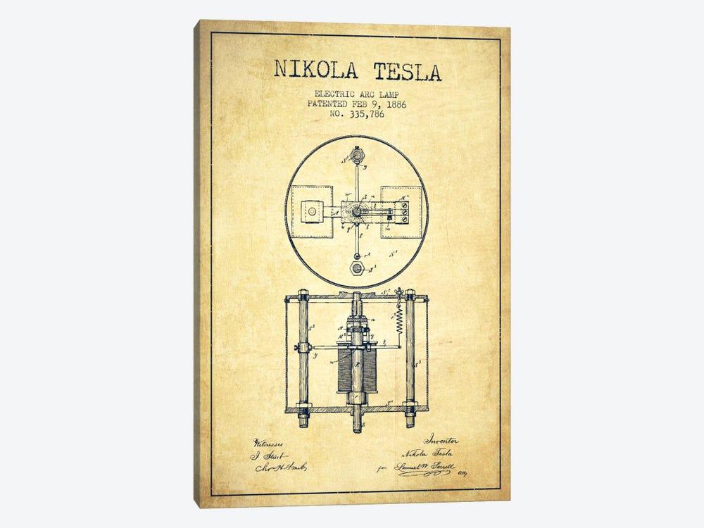 Tesla Arc Lamp Vintage Patent Blueprint by Aged Pixel 1-piece Canvas Print