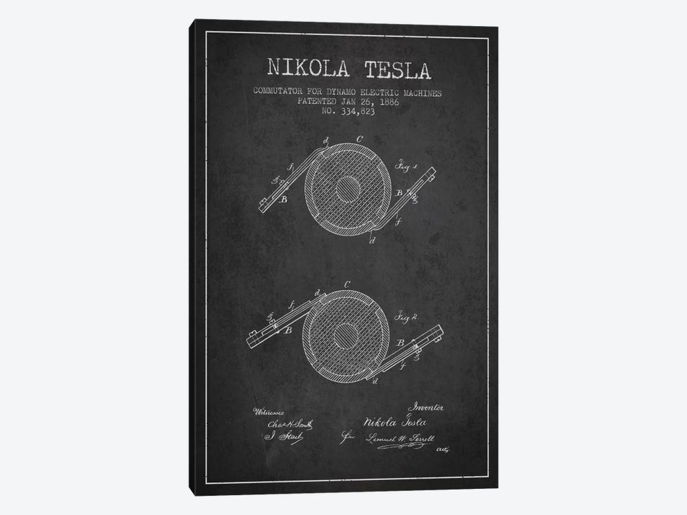 Tesla Commutator Charcoal Patent Blueprint by Aged Pixel 1-piece Canvas Artwork