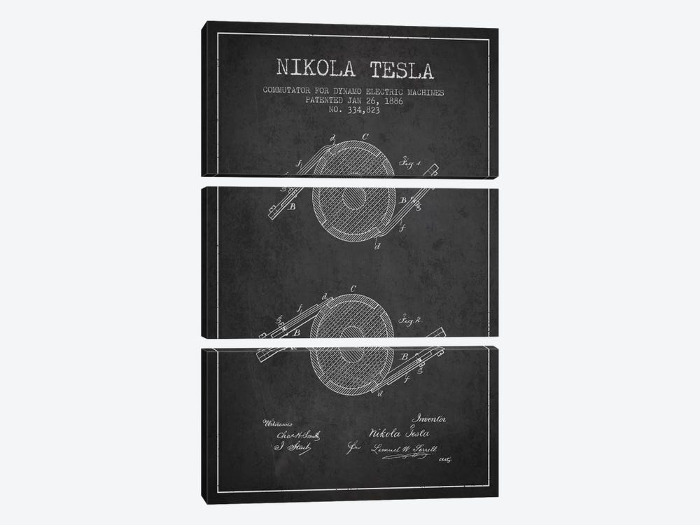Tesla Commutator Charcoal Patent Blueprint by Aged Pixel 3-piece Canvas Art