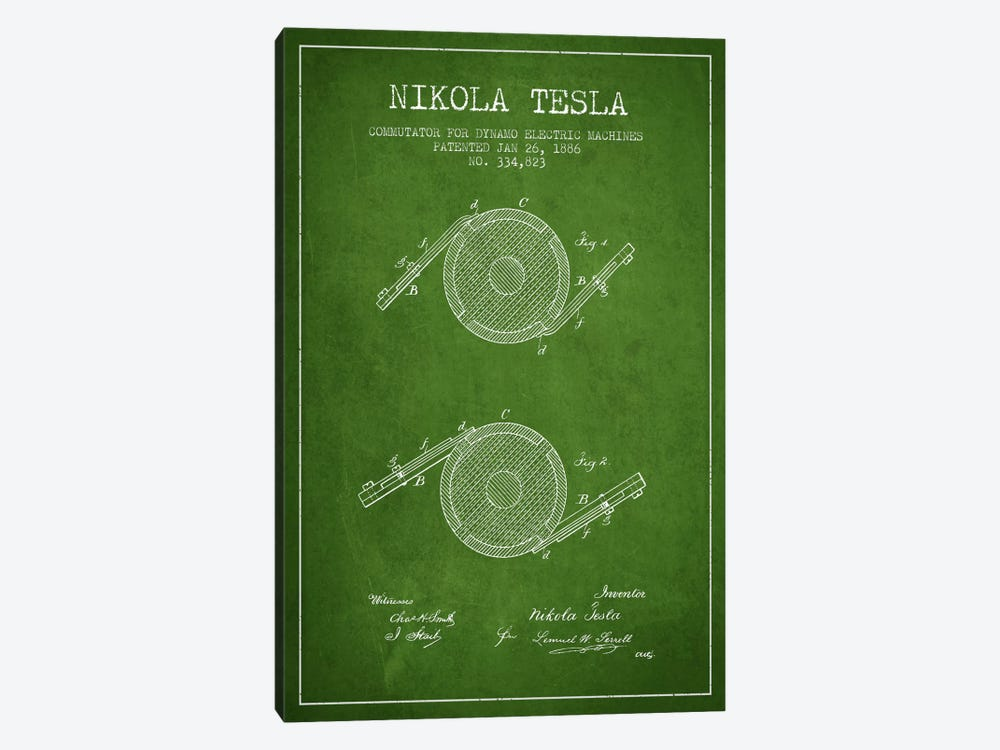 Tesla Commutator Green Patent Blueprint by Aged Pixel 1-piece Canvas Art Print