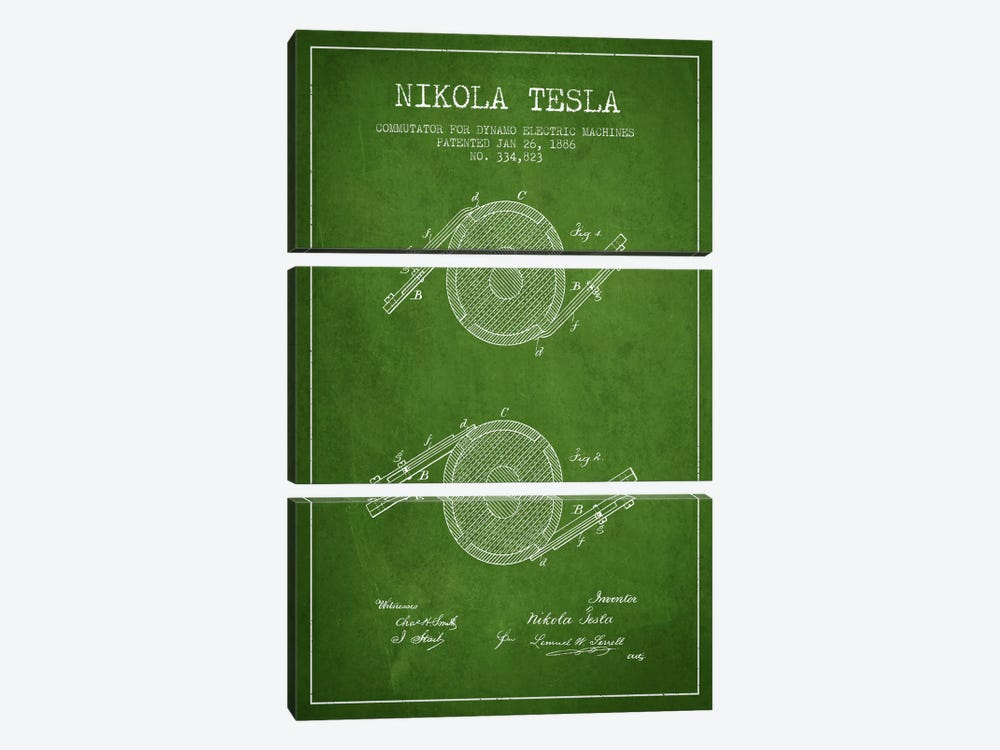 Tesla Commutator Green Patent Blueprint by Aged Pixel 3-piece Art Print