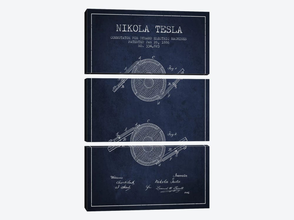 Tesla Commutator Navy Blue Patent Blueprint by Aged Pixel 3-piece Canvas Wall Art