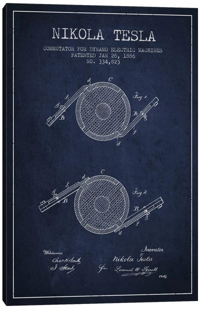 Tesla Commutator Navy Blue Patent Blueprint Canvas Art Print