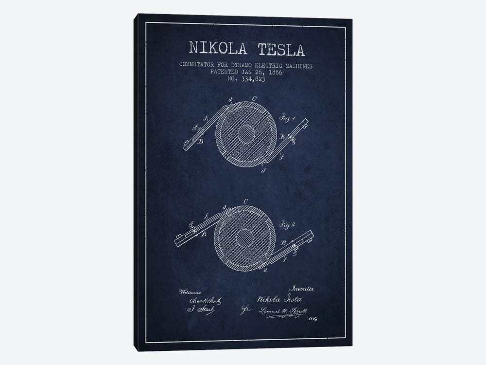 Tesla Commutator Navy Blue Patent Blueprint by Aged Pixel 1-piece Canvas Wall Art