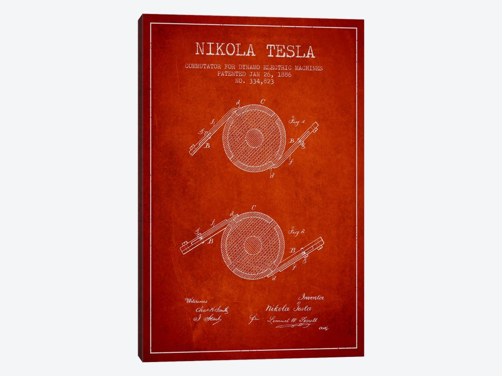Tesla Commutator Red Patent Blueprint by Aged Pixel 1-piece Canvas Print