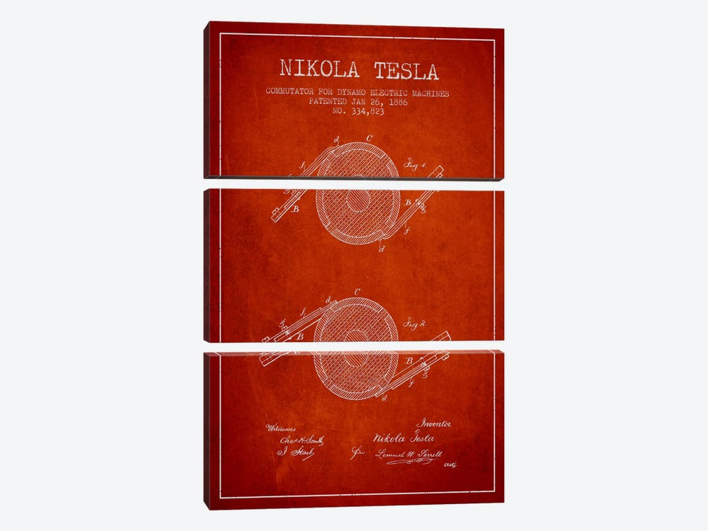 Tesla Commutator Red Patent Blueprint by Aged Pixel 3-piece Canvas Art Print