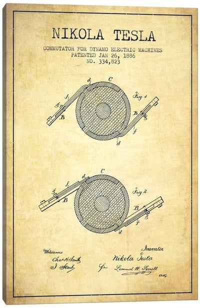 Tesla Commutator Vintage Patent Blueprint Canvas Print #ADP525