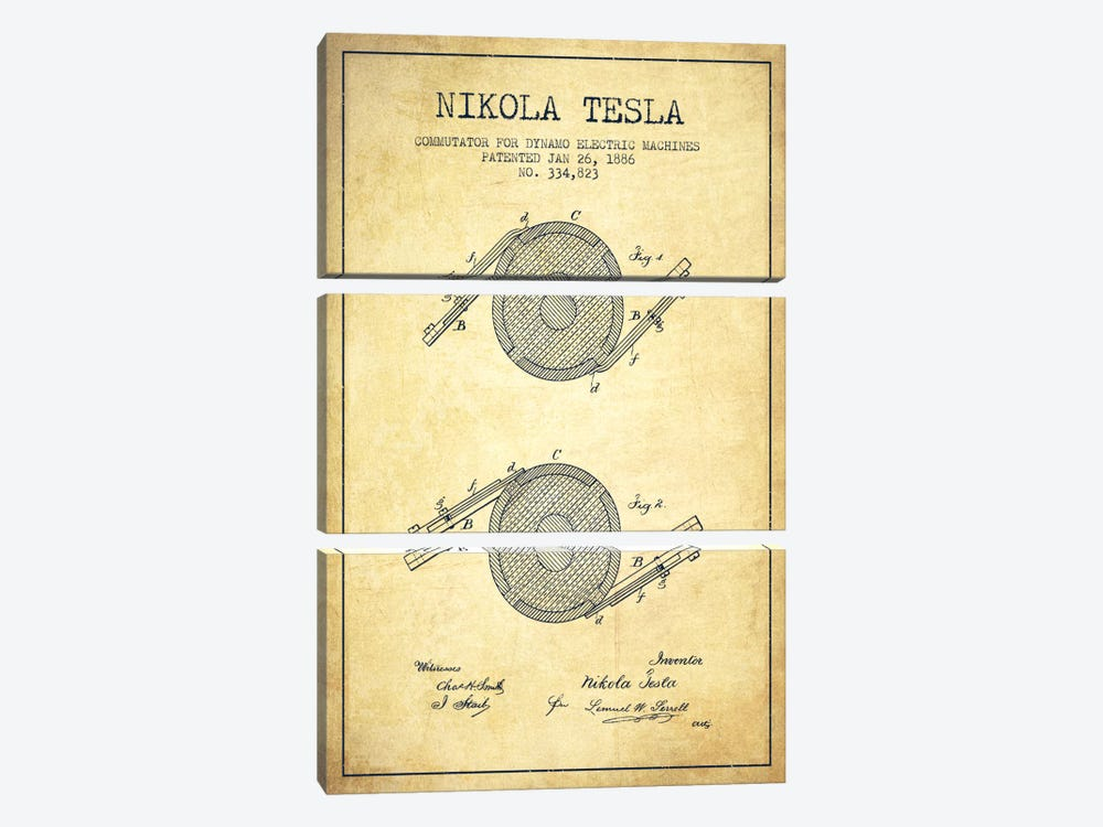Tesla Commutator Vintage Patent Blueprint by Aged Pixel 3-piece Canvas Artwork