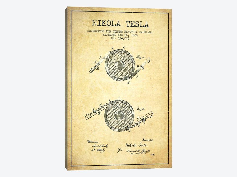 Tesla Commutator Vintage Patent Blueprint by Aged Pixel 1-piece Canvas Artwork