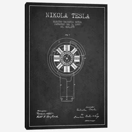 Tesla Electromagnetic Charcoal Patent Blueprint Canvas Print #ADP526} by Aged Pixel Art Print