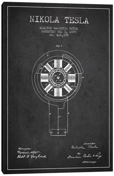 Tesla Electromagnetic Charcoal Patent Blueprint Canvas Art Print