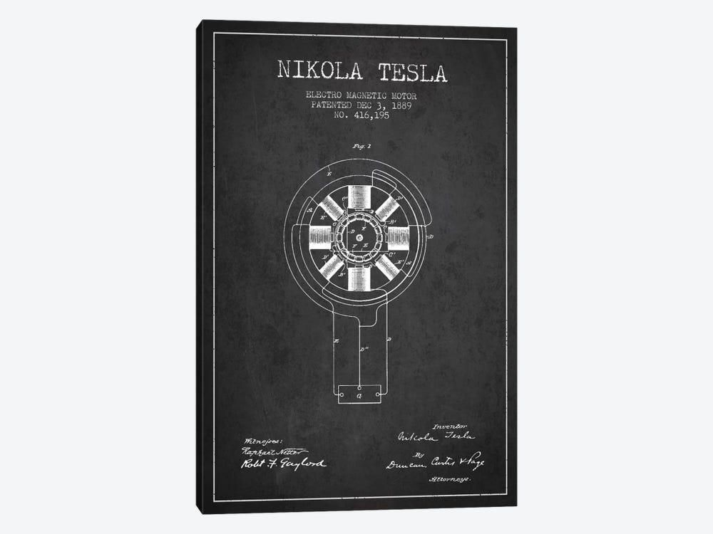 Tesla Electromagnetic Charcoal Patent Blueprint by Aged Pixel 1-piece Art Print