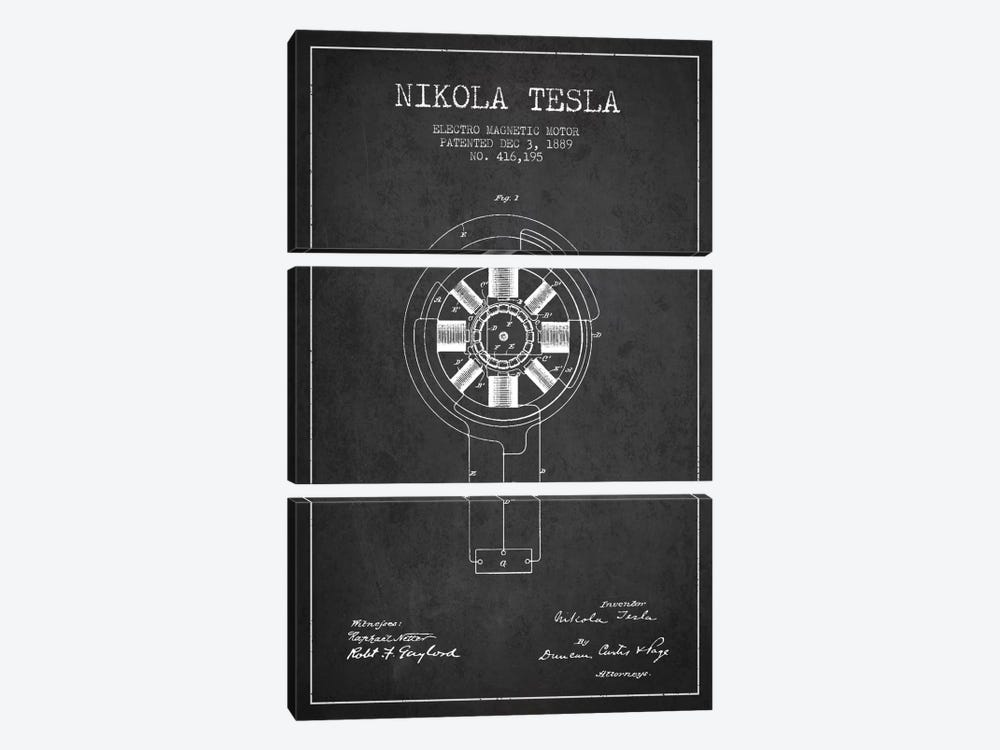 Tesla Electromagnetic Charcoal Patent Blueprint by Aged Pixel 3-piece Canvas Art Print