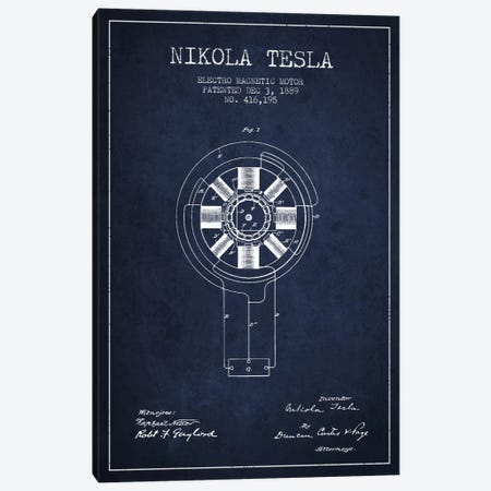Tesla Electromagnetic Navy Blue Patent Blueprint Canvas Print #ADP528} by Aged Pixel Canvas Art