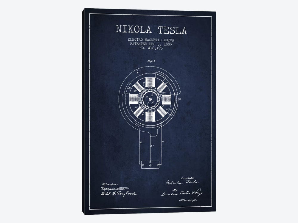 Tesla Electromagnetic Navy Blue Patent Blueprint by Aged Pixel 1-piece Canvas Art Print