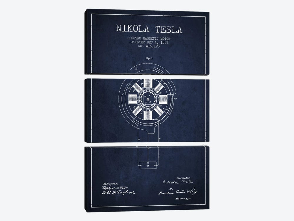 Tesla Electromagnetic Navy Blue Patent Blueprint by Aged Pixel 3-piece Canvas Art Print