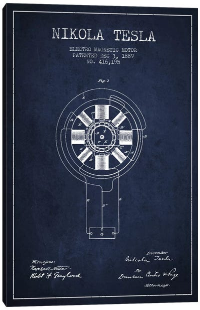 Tesla Electromagnetic Navy Blue Patent Blueprint Canvas Art Print