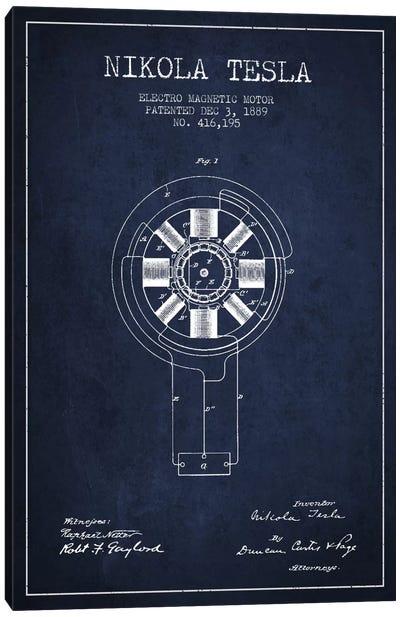 Tesla Electromagnetic Navy Blue Patent Blueprint Canvas Art Print