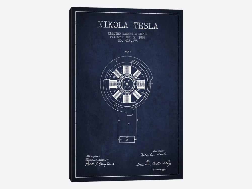 Tesla Electromagnetic Navy Blue Patent Blueprint by Aged Pixel 1-piece Canvas Art Print