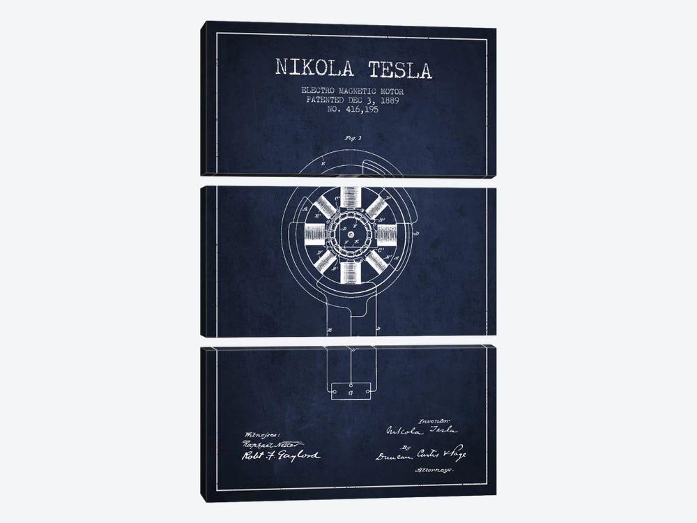 Tesla Electromagnetic Navy Blue Patent Blueprint by Aged Pixel 3-piece Canvas Art Print