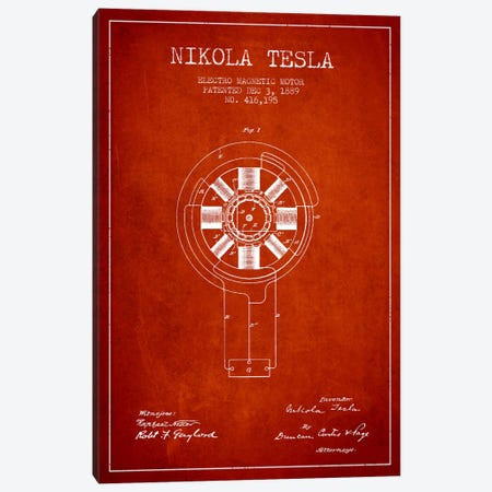 Tesla Electromagnetic Red Patent Blueprint Canvas Print #ADP529} by Aged Pixel Canvas Artwork