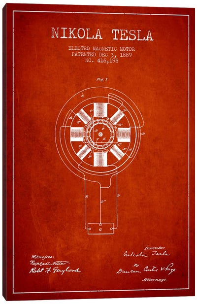 Tesla Electromagnetic Red Patent Blueprint Canvas Print #ADP529