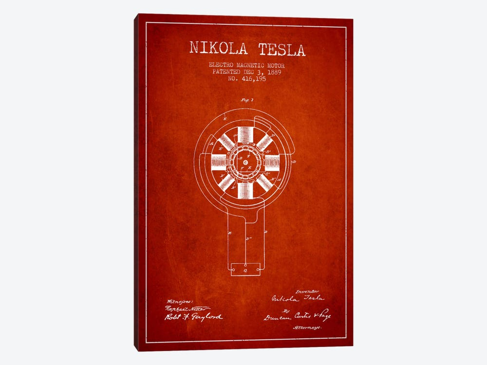 Tesla Electromagnetic Red Patent Blueprint by Aged Pixel 1-piece Canvas Artwork