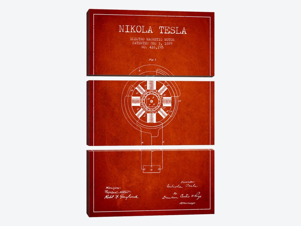 Tesla Electromagnetic Red Patent Blueprint by Aged Pixel 3-piece Canvas Artwork