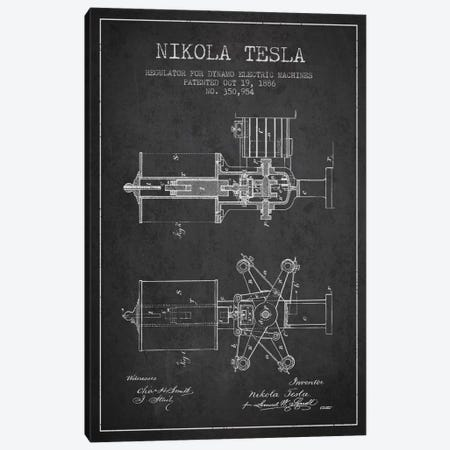 Tesla Regulator Charcoal Patent Blueprint Canvas Print #ADP531} by Aged Pixel Canvas Art Print