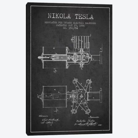 Tesla Regulator Charcoal Patent Blueprint Canvas Print #ADP531} by Aged Pixel Canvas Art Print