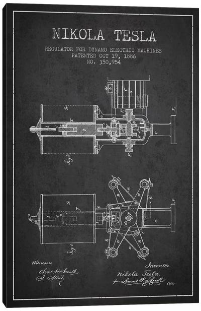Tesla Regulator Charcoal Patent Blueprint Canvas Art Print